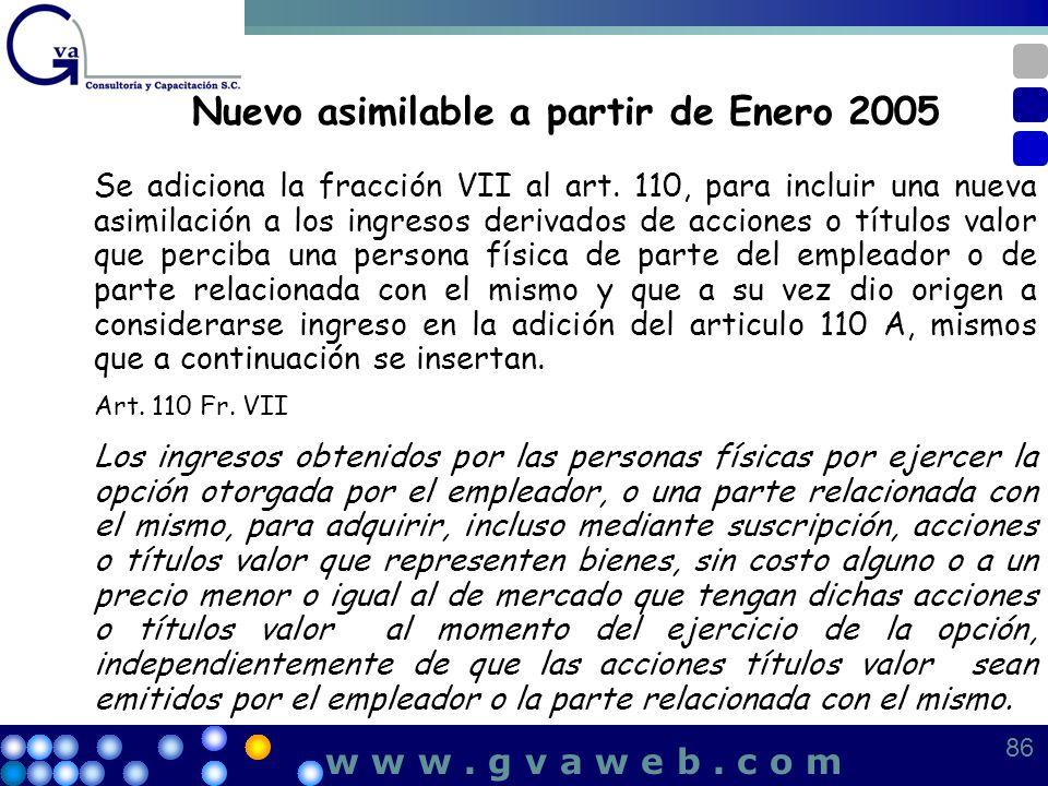 Nuevo asimilable a partir de Enero 2005 Se adiciona la fracción VII al art. 110, para incluir una nueva asimilación a los ingresos derivados de accion