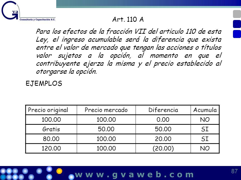 Art. 110 A Para los efectos de la fracción VII del articulo 110 de esta Ley, el ingreso acumulable será la diferencia que exista entre el valor de mer