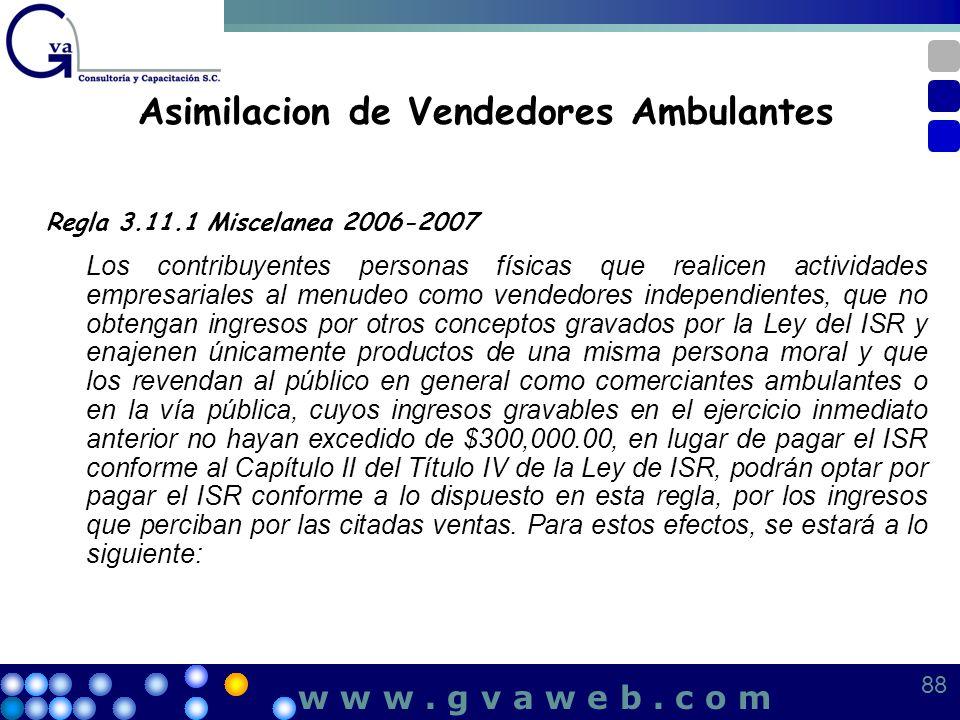 Asimilacion de Vendedores Ambulantes Regla 3.11.1 Miscelanea 2006-2007 Los contribuyentes personas físicas que realicen actividades empresariales al m