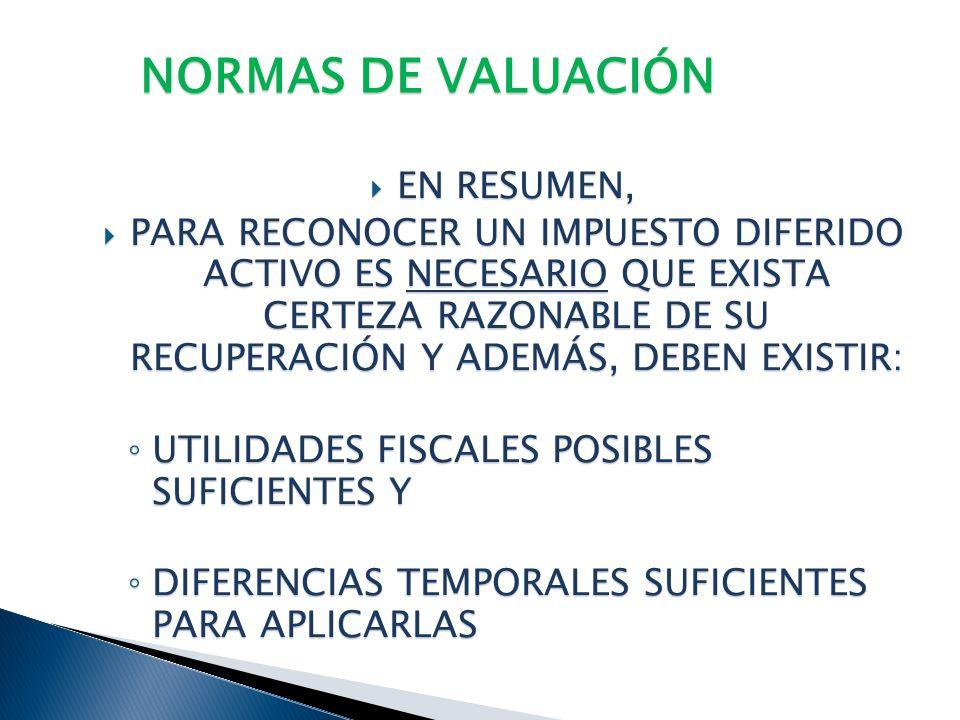 NORMAS DE VALUACIÓN IMPUESTO DIFERIDO DE CRÉDITOS FISCALES IMPUESTO DIFERIDO DE CRÉDITOS FISCALES SE RECONOCEN SIEMPRE Y CUANDO SEA PROBABLE SU RECUPE