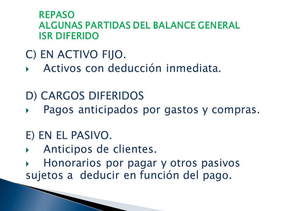 REPASO ALGUNAS PARTIDAS DEL BALANCE GENERAL ISR DIFERIDO A ) EN INVERSIONES EN VALORES. Utilidad o pérdida por valuación de instrumentos financieros.