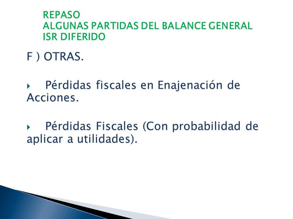 REPASO ALGUNAS PARTIDAS DEL BALANCE GENERAL ISR DIFERIDO C) EN ACTIVO FIJO. Activos con deducción inmediata. Activos con deducción inmediata. D) CARGO