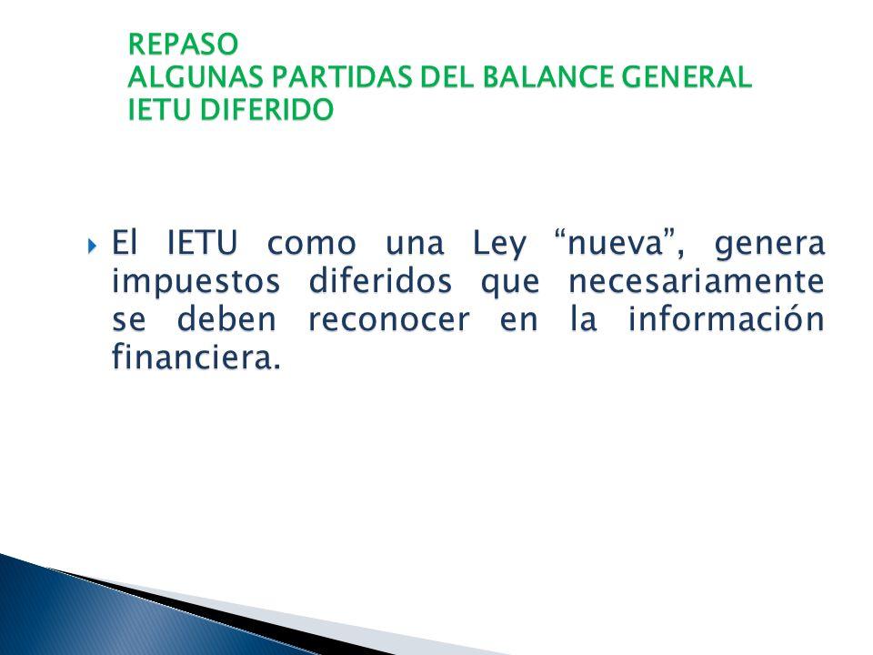 REPASO ALGUNAS PARTIDAS DEL BALANCE GENERAL ISR DIFERIDO F ) OTRAS. Pérdidas fiscales en Enajenación de Acciones. Pérdidas fiscales en Enajenación de