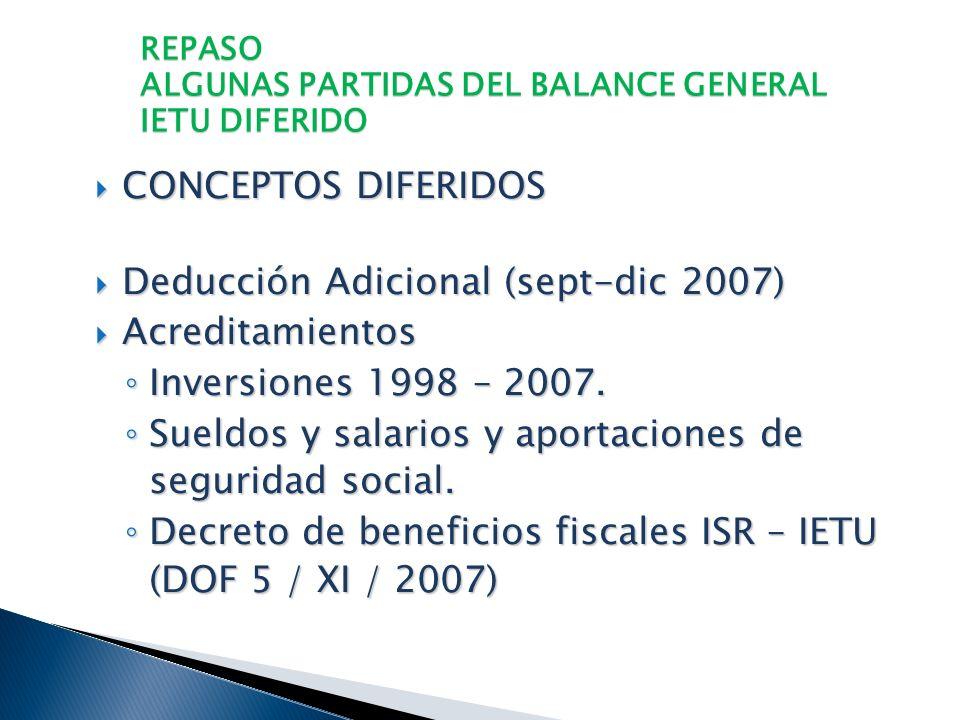 REPASO ALGUNAS PARTIDAS DEL BALANCE GENERAL IETU DIFERIDO Los conceptos diferidos están comprendidos en las deducciones y en los acreditamiento que es