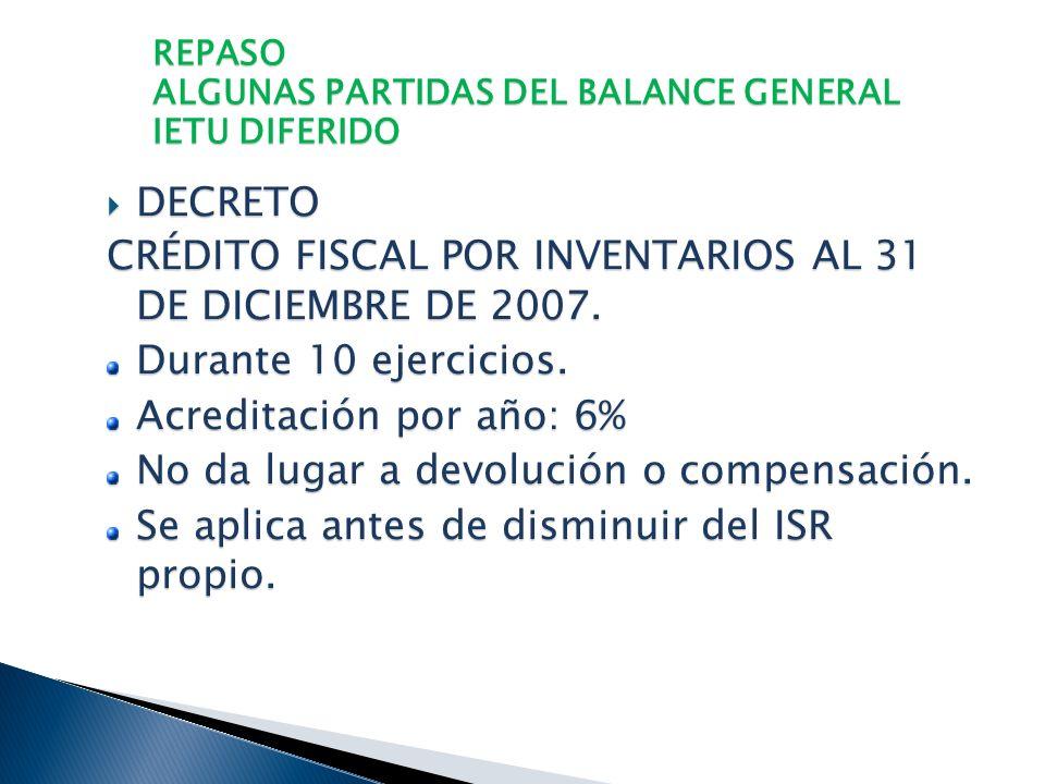 REPASO ALGUNAS PARTIDAS DEL BALANCE GENERAL IETU DIFERIDO CONCEPTOS DIFERIDOS CONCEPTOS DIFERIDOS Deducción Adicional (sept-dic 2007) Deducción Adicio