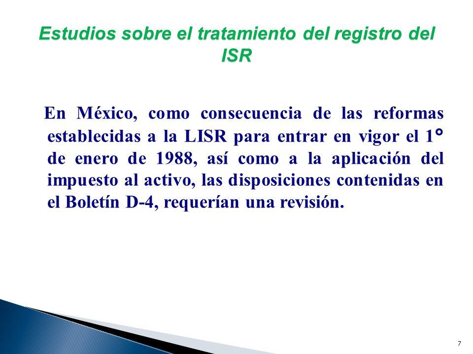 6 Estudios sobre el tratamiento del registro del ISR Con base en el estudio practicado por la CNIC y plasmado en la NIC 12, En 1987 el IACP formula su