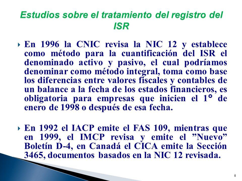 7 Estudios sobre el tratamiento del registro del ISR En México, como consecuencia de las reformas establecidas a la LISR para entrar en vigor el 1° de