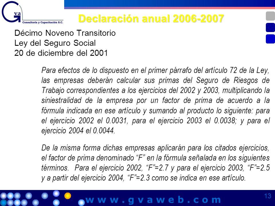 Declaración anual 2006-2007 Décimo Noveno Transitorio Ley del Seguro Social 20 de diciembre del 2001 Para efectos de lo dispuesto en el primer párrafo