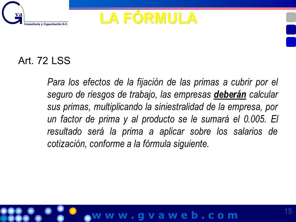 LA FÓRMULA Art. 72 LSS Para los efectos de la fijación de las primas a cubrir por el seguro de riesgos de trabajo, las empresas deberán calcular sus p