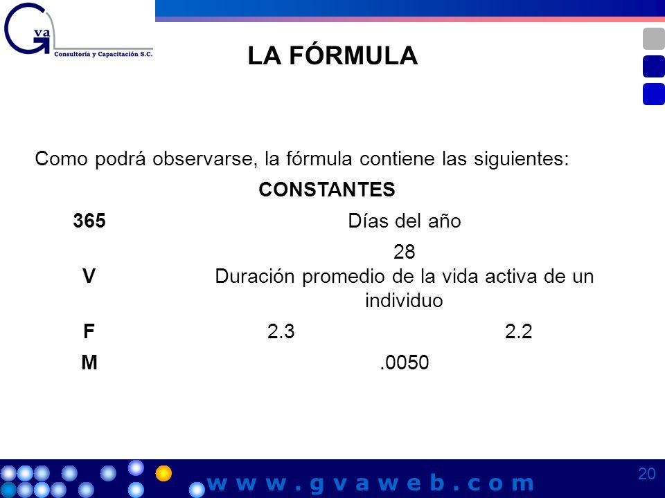 LA FÓRMULA Como podrá observarse, la fórmula contiene las siguientes: CONSTANTES 365Días del año V 28 Duración promedio de la vida activa de un indivi
