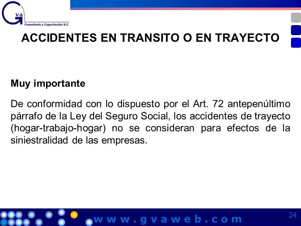 ACCIDENTES EN TRANSITO O EN TRAYECTO Muy importante De conformidad con lo dispuesto por el Art. 72 antepenúltimo párrafo de la Ley del Seguro Social,