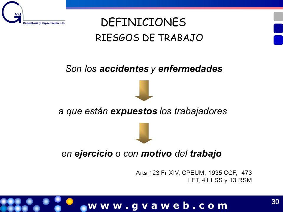 DEFINICIONES RIESGOS DE TRABAJO Son los accidentes y enfermedades a que están expuestos los trabajadores en ejercicio o con motivo del trabajo Arts.12
