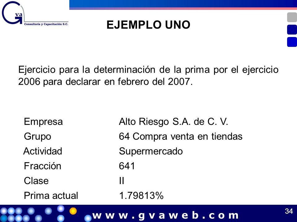 EJEMPLO UNO Ejercicio para la determinación de la prima por el ejercicio 2006 para declarar en febrero del 2007. EmpresaAlto Riesgo S.A. de C. V. Grup