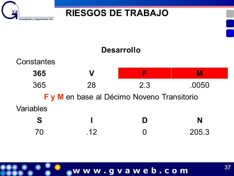 RIESGOS DE TRABAJO Desarrollo Constantes 365VFM 282.3.0050 F y M en base al Décimo Noveno Transitorio Variables SIDN 70.120205.3 37 w w w. g v a w e b