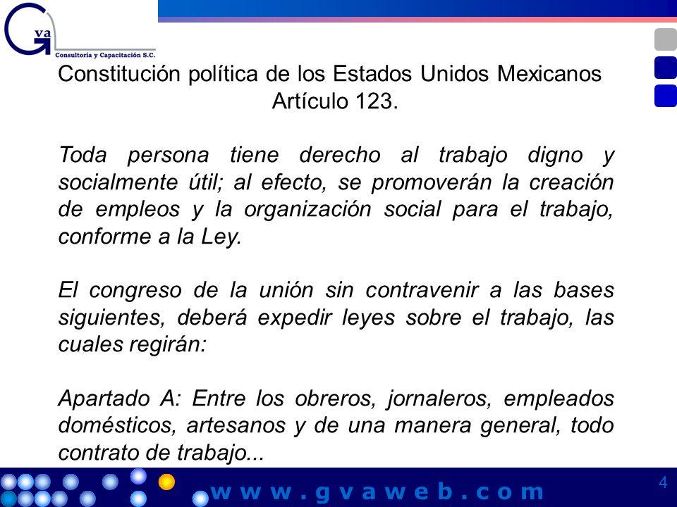 Constitución política de los Estados Unidos Mexicanos Artículo 123. Toda persona tiene derecho al trabajo digno y socialmente útil; al efecto, se prom