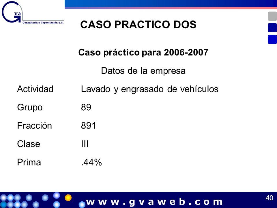 CASO PRACTICO DOS Caso práctico para 2006-2007 Datos de la empresa ActividadLavado y engrasado de vehículos Grupo89 Fracción891 ClaseIII Prima.44% 40