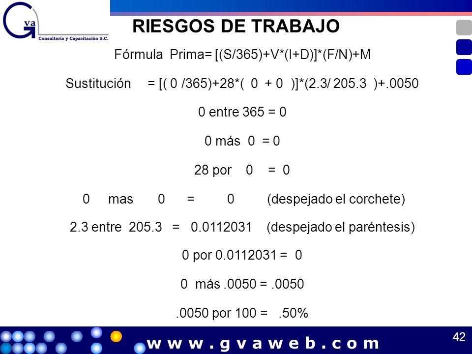 RIESGOS DE TRABAJO Fórmula Prima= [(S/365)+V*(I+D)]*(F/N)+M Sustitución = [( 0 /365)+28*( 0 + 0 )]*(2.3/ 205.3 )+.0050 0 entre 365 = 0 0 más 0 = 0 28