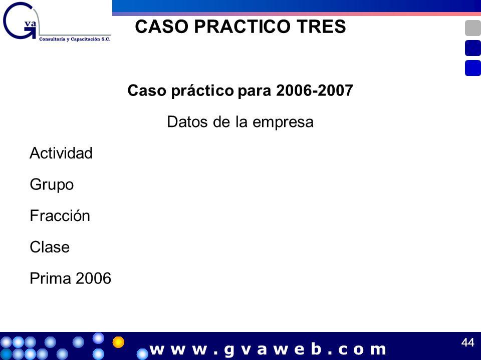 CASO PRACTICO TRES Caso práctico para 2006-2007 Datos de la empresa Actividad Grupo Fracción Clase Prima 2006 44 w w w. g v a w e b. c o m