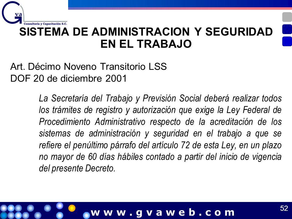 SISTEMA DE ADMINISTRACION Y SEGURIDAD EN EL TRABAJO Art. Décimo Noveno Transitorio LSS DOF 20 de diciembre 2001 La Secretaría del Trabajo y Previsión