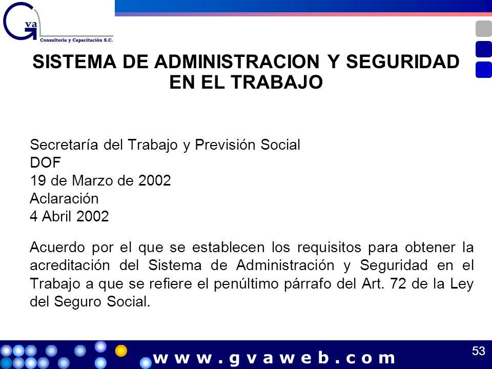 SISTEMA DE ADMINISTRACION Y SEGURIDAD EN EL TRABAJO Secretaría del Trabajo y Previsión Social DOF 19 de Marzo de 2002 Aclaración 4 Abril 2002 Acuerdo