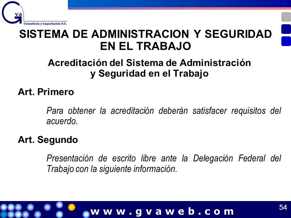 SISTEMA DE ADMINISTRACION Y SEGURIDAD EN EL TRABAJO Acreditación del Sistema de Administración y Seguridad en el Trabajo Art. Primero Para obtener la