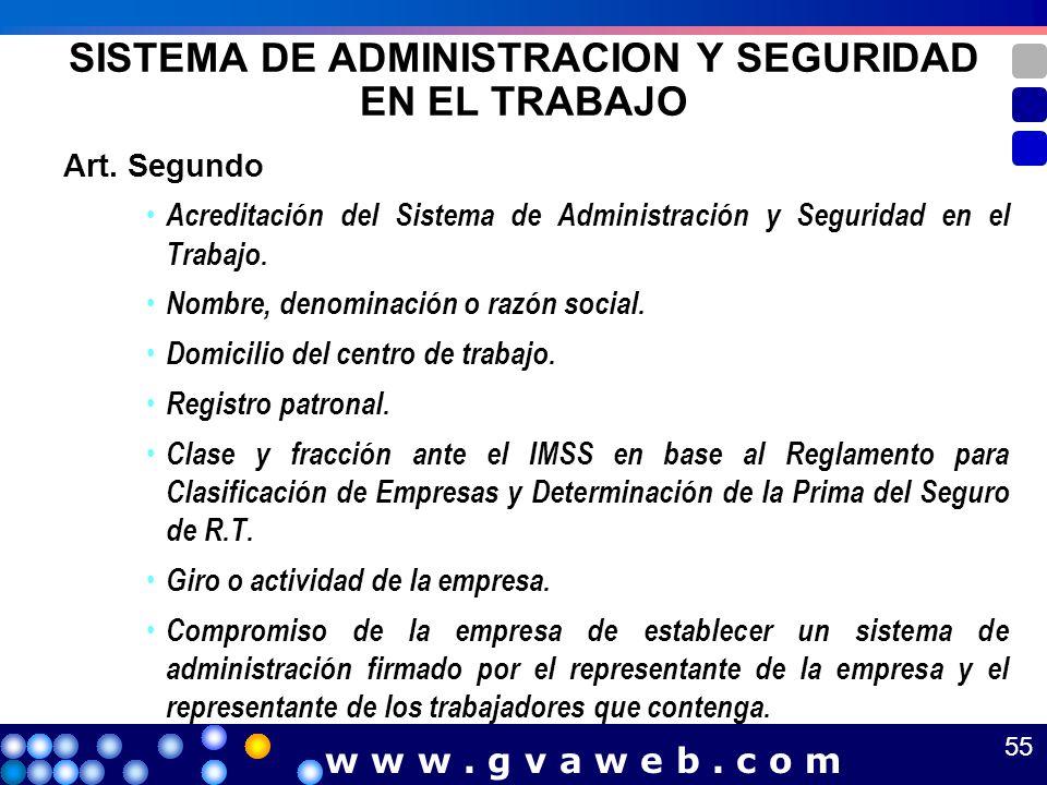 Art. Segundo Acreditación del Sistema de Administración y Seguridad en el Trabajo. Nombre, denominación o razón social. Domicilio del centro de trabaj