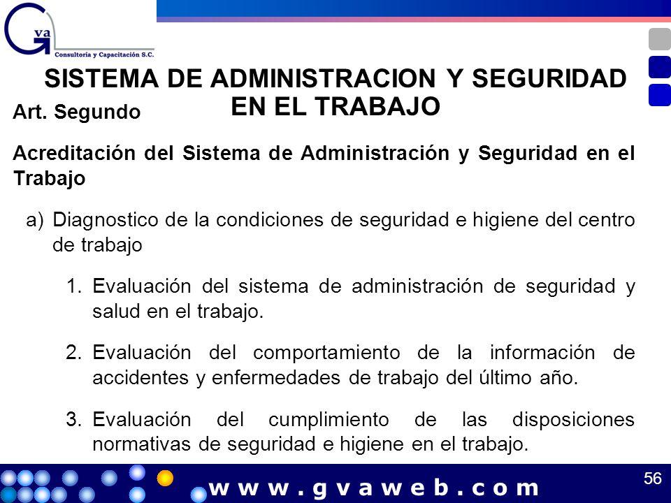 Art. Segundo Acreditación del Sistema de Administración y Seguridad en el Trabajo a)Diagnostico de la condiciones de seguridad e higiene del centro de