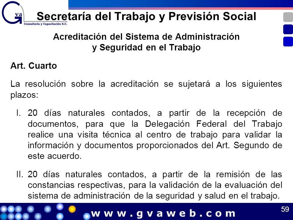 Acreditación del Sistema de Administración y Seguridad en el Trabajo Art. Cuarto La resolución sobre la acreditación se sujetará a los siguientes plaz