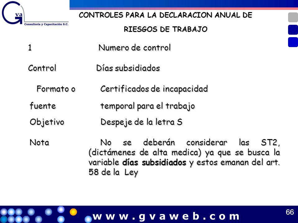 CONTROLES PARA LA DECLARACION ANUAL DE RIESGOS DE TRABAJO 1 Numero de control Numero de control Control Control Días subsidiados Días subsidiados Form