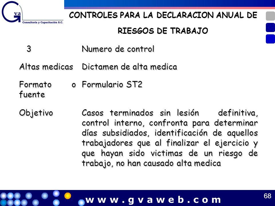 CONTROLES PARA LA DECLARACION ANUAL DE RIESGOS DE TRABAJO 3 Numero de control Altas medicas Dictamen de alta medica Formato o fuente Formulario ST2 Ob