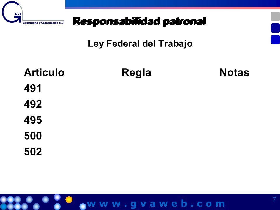 Ley Federal del Trabajo Responsabilidad patronal ArticuloReglaNotas 491 492 495 500 502 7 7 7 7 w w w. g v a w e b. c o m