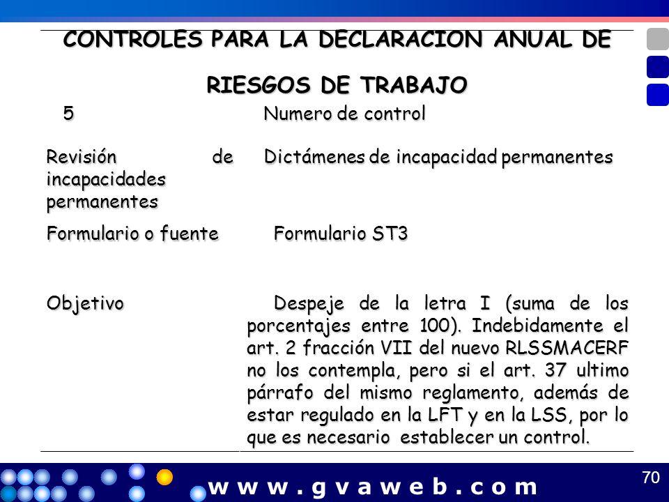 CONTROLES PARA LA DECLARACION ANUAL DE RIESGOS DE TRABAJO 5 Numero de control Numero de control Revisión de incapacidades permanentes Dictámenes de in