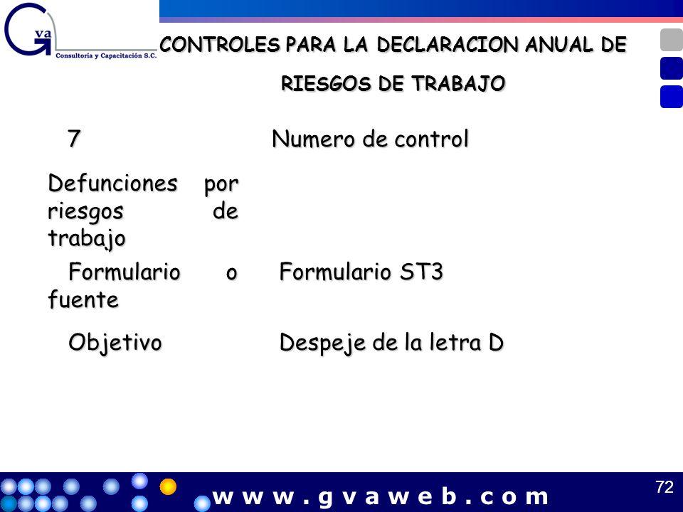 CONTROLES PARA LA DECLARACION ANUAL DE RIESGOS DE TRABAJO 7 Numero de control Numero de control Defunciones por riesgos de trabajo Formulario o fuente