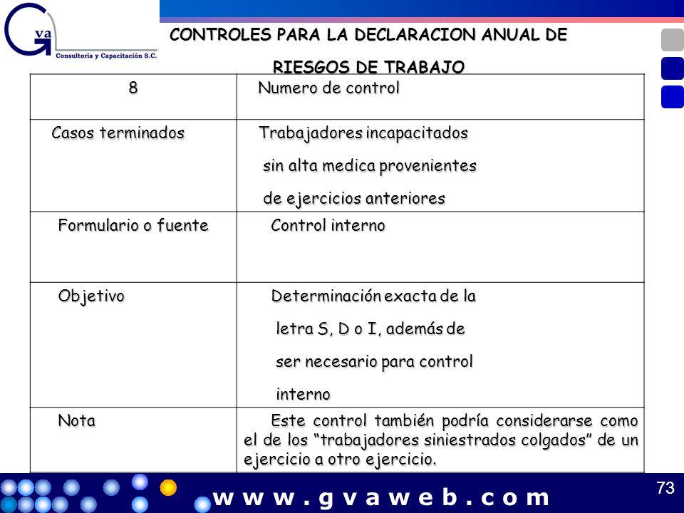 CONTROLES PARA LA DECLARACION ANUAL DE RIESGOS DE TRABAJO 8 Numero de control Numero de control Casos terminados Casos terminados Trabajadores incapac