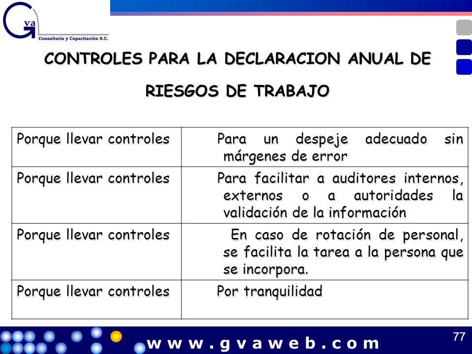 CONTROLES PARA LA DECLARACION ANUAL DE RIESGOS DE TRABAJO Porque llevar controles Para un despeje adecuado sin márgenes de error Para un despeje adecu
