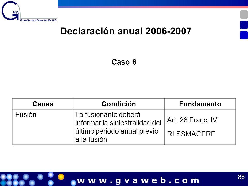 Caso 6 CausaCondiciónFundamento FusiónLa fusionante deberá informar la siniestralidad del último periodo anual previo a la fusión Art. 28 Fracc. IV RL