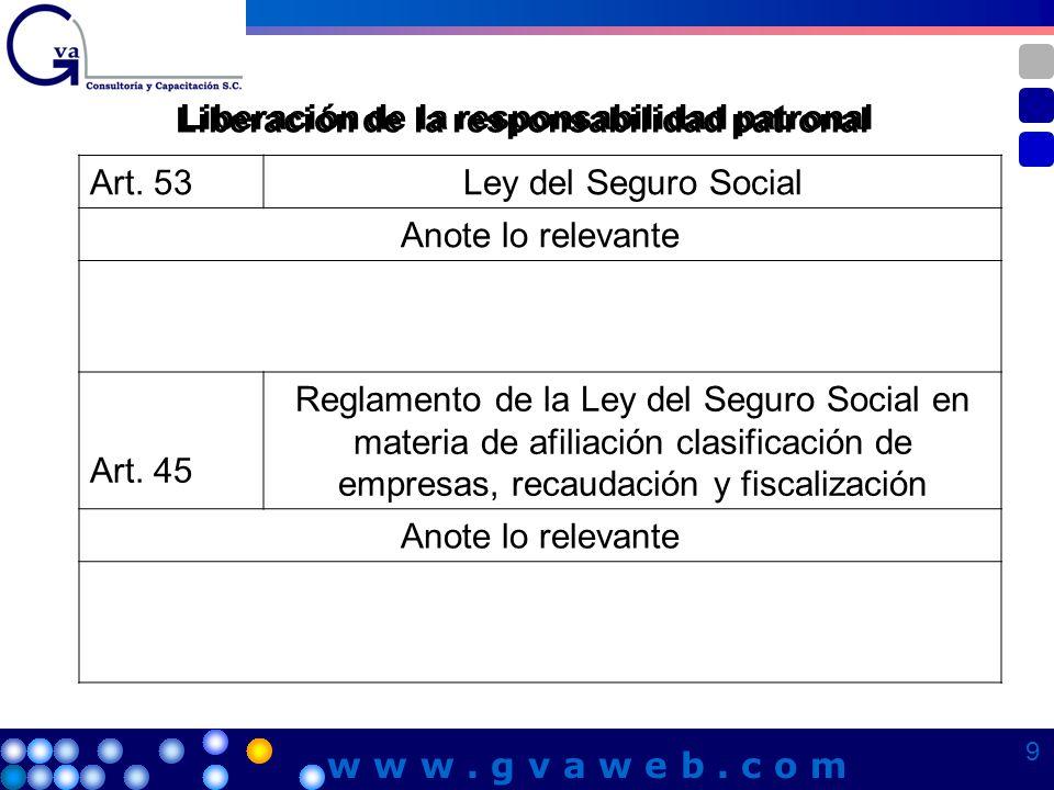 Liberación de la responsabilidad patronal Art. 53Ley del Seguro Social Anote lo relevante Art. 45 Reglamento de la Ley del Seguro Social en materia de