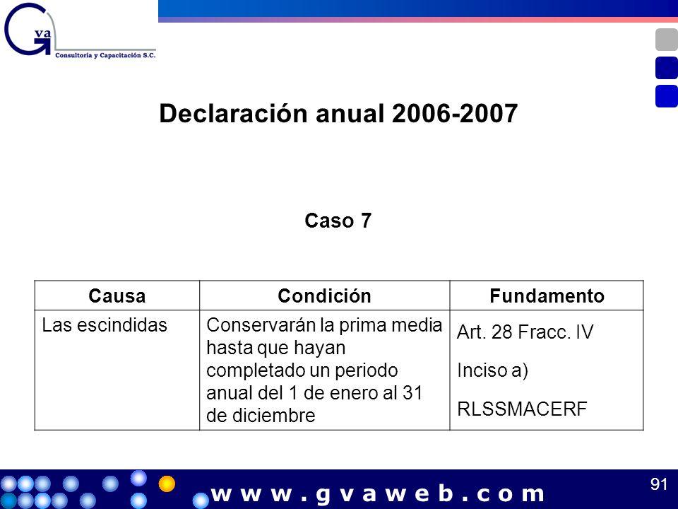 Caso 7 CausaCondiciónFundamento Las escindidasConservarán la prima media hasta que hayan completado un periodo anual del 1 de enero al 31 de diciembre