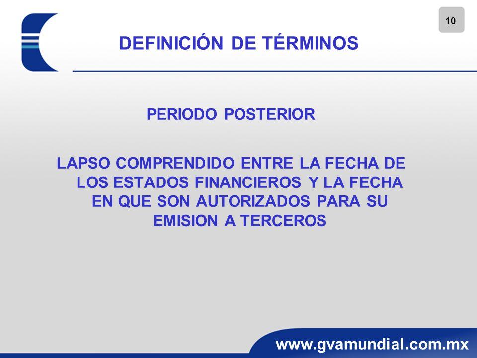 10 www.gvamundial.com.mx DEFINICIÓN DE TÉRMINOS PERIODO POSTERIOR LAPSO COMPRENDIDO ENTRE LA FECHA DE LOS ESTADOS FINANCIEROS Y LA FECHA EN QUE SON AU