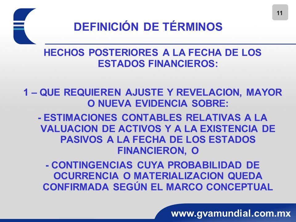 11 www.gvamundial.com.mx DEFINICIÓN DE TÉRMINOS HECHOS POSTERIORES A LA FECHA DE LOS ESTADOS FINANCIEROS: 1 – QUE REQUIEREN AJUSTE Y REVELACION, MAYOR