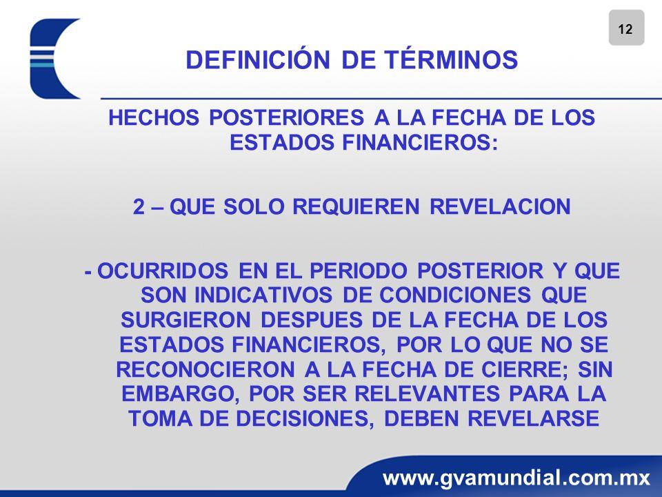 12 www.gvamundial.com.mx DEFINICIÓN DE TÉRMINOS HECHOS POSTERIORES A LA FECHA DE LOS ESTADOS FINANCIEROS: 2 – QUE SOLO REQUIEREN REVELACION - OCURRIDO