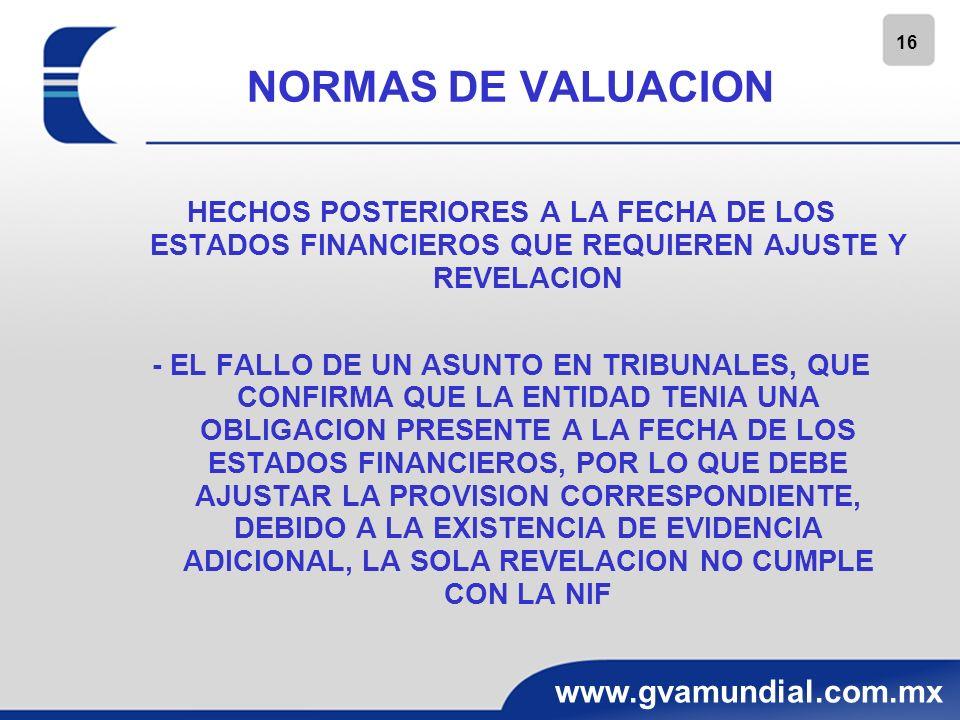 16 www.gvamundial.com.mx NORMAS DE VALUACION HECHOS POSTERIORES A LA FECHA DE LOS ESTADOS FINANCIEROS QUE REQUIEREN AJUSTE Y REVELACION - EL FALLO DE
