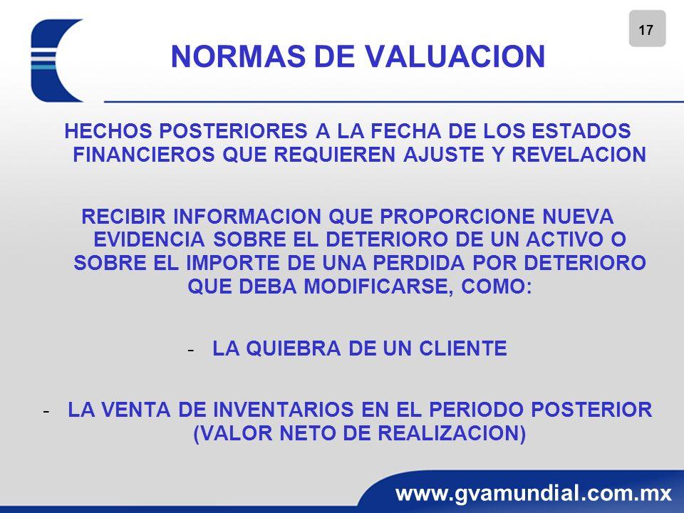 17 www.gvamundial.com.mx NORMAS DE VALUACION HECHOS POSTERIORES A LA FECHA DE LOS ESTADOS FINANCIEROS QUE REQUIEREN AJUSTE Y REVELACION RECIBIR INFORM
