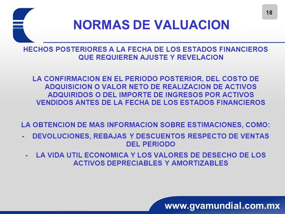 18 www.gvamundial.com.mx NORMAS DE VALUACION HECHOS POSTERIORES A LA FECHA DE LOS ESTADOS FINANCIEROS QUE REQUIEREN AJUSTE Y REVELACION LA CONFIRMACIO