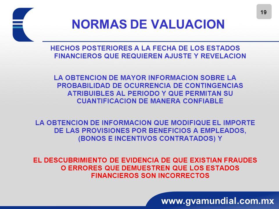 19 www.gvamundial.com.mx NORMAS DE VALUACION HECHOS POSTERIORES A LA FECHA DE LOS ESTADOS FINANCIEROS QUE REQUIEREN AJUSTE Y REVELACION LA OBTENCION D