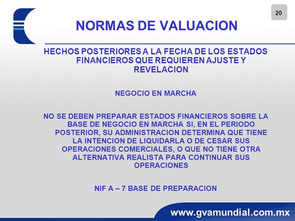 20 www.gvamundial.com.mx NORMAS DE VALUACION HECHOS POSTERIORES A LA FECHA DE LOS ESTADOS FINANCIEROS QUE REQUIEREN AJUSTE Y REVELACION NEGOCIO EN MAR