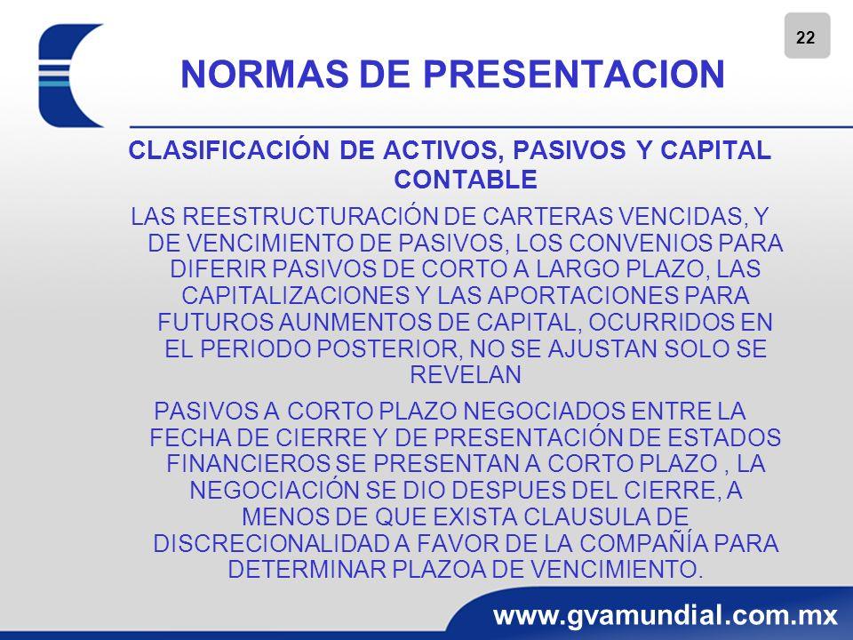 22 www.gvamundial.com.mx NORMAS DE PRESENTACION CLASIFICACIÓN DE ACTIVOS, PASIVOS Y CAPITAL CONTABLE LAS REESTRUCTURACIÓN DE CARTERAS VENCIDAS, Y DE V