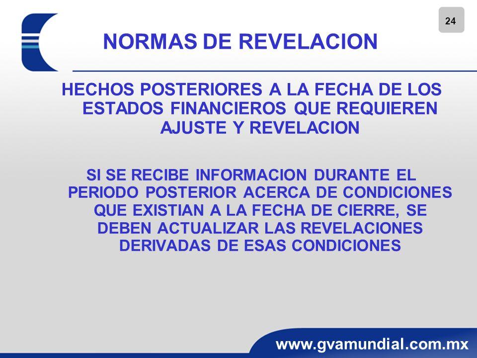 24 www.gvamundial.com.mx NORMAS DE REVELACION HECHOS POSTERIORES A LA FECHA DE LOS ESTADOS FINANCIEROS QUE REQUIEREN AJUSTE Y REVELACION SI SE RECIBE