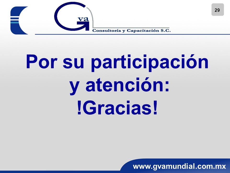 29 www.gvamundial.com.mx Por su participación y atención: !Gracias!