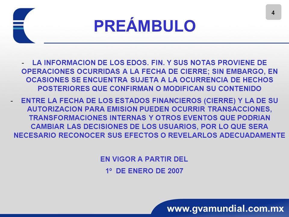 4 www.gvamundial.com.mx PREÁMBULO -LA INFORMACION DE LOS EDOS. FIN. Y SUS NOTAS PROVIENE DE OPERACIONES OCURRIDAS A LA FECHA DE CIERRE; SIN EMBARGO, E